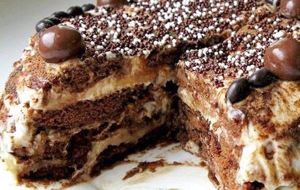 Шоколадно банановый торт – рецепт