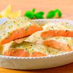Тушеное филе лосося с брокколи