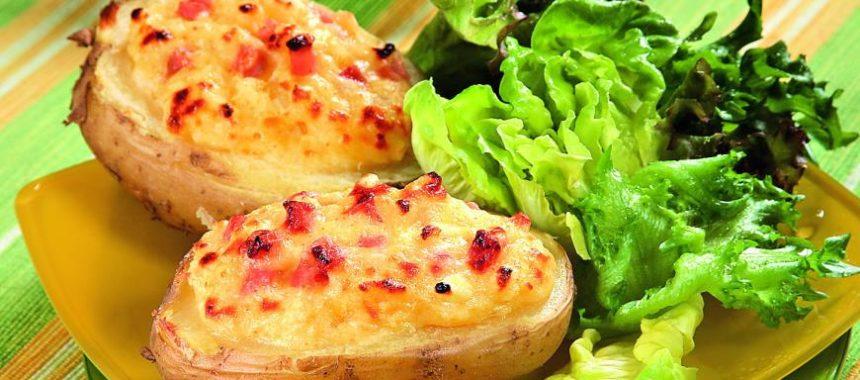 Фаршированный картофель с сыром и ветчиной
