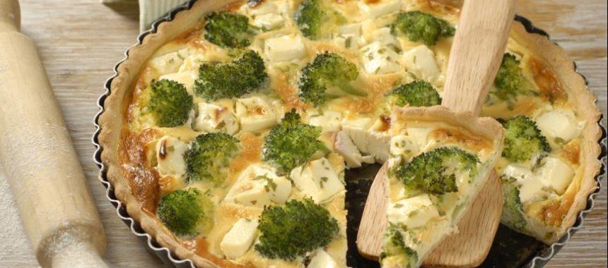 Диетический открытый пирог с брокколи рецепт