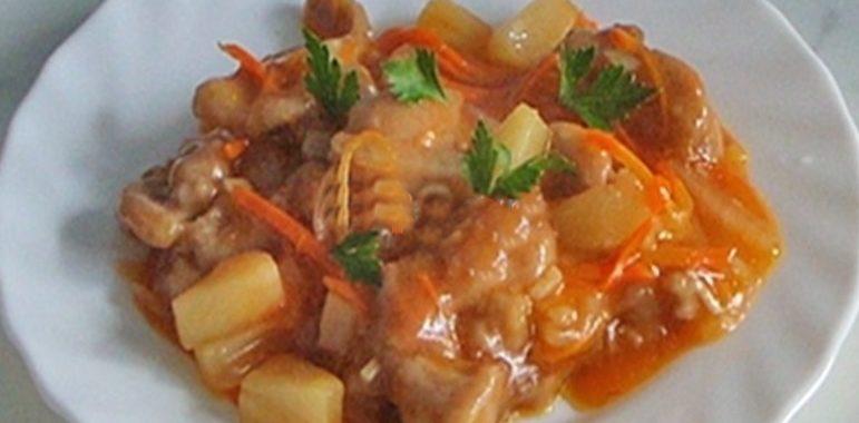 Мясо с ананасами рецепт приготовления