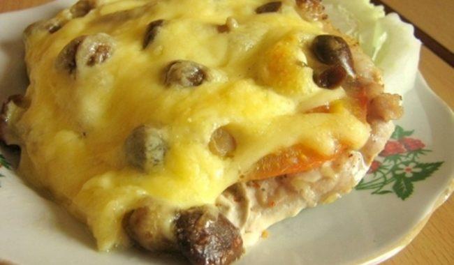 Мясо с грибами в духовке рецепт приготовления