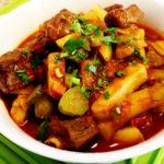 Рецепт приготовления азу из говядины с картошкой и огурцами