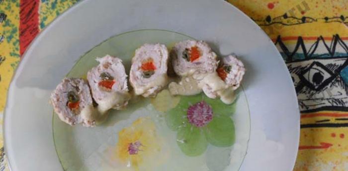 Куриный рулет с овощами в пароварке рецепт