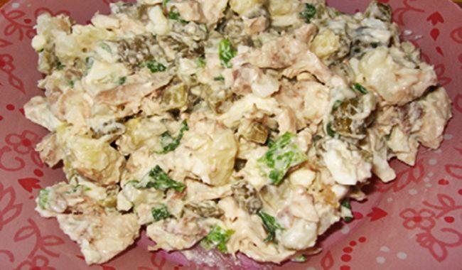 Салат с шампиньонами и картофелем рецепт