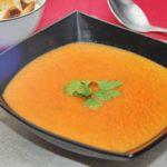 Томатный суп-пюре с блинчатыми пирожками с начинкой из мозгов