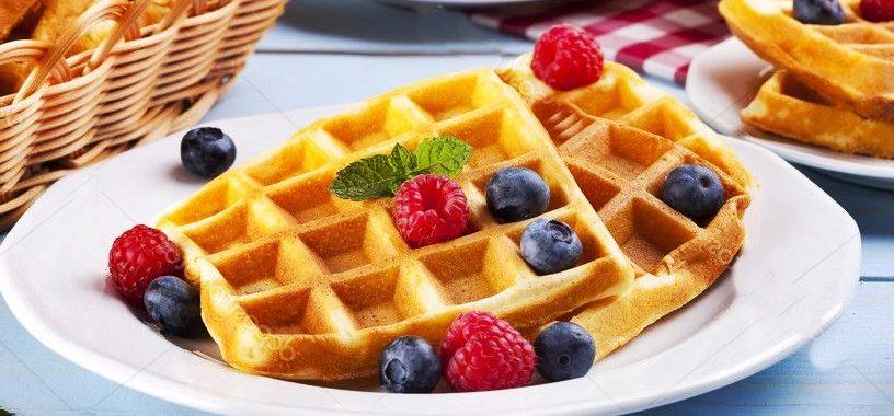 Вафли с фруктами (ягоды, сливки) рецепт приготовления