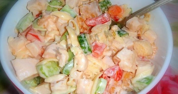 Овощной салат с курицей рецепт приготовления