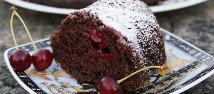 Шоколадный кекс с какао и вишней в духовке рецепт приготовления