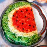 Салат Арбуз с сыром и помидорами рецепт приготовления