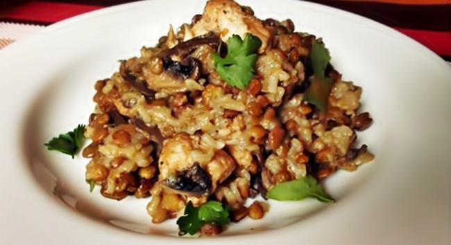 Чечевица в мультиварке с рисом и грибами рецепт
