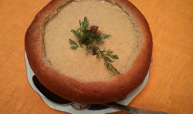Грибной суп в хлебной посуде рецепт