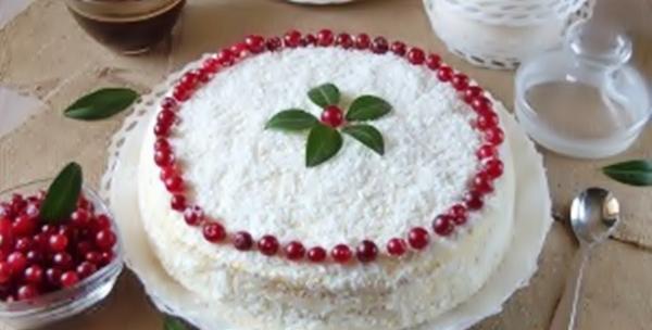 Нежный кокосовый торт «Рябина на снегу» рецепт