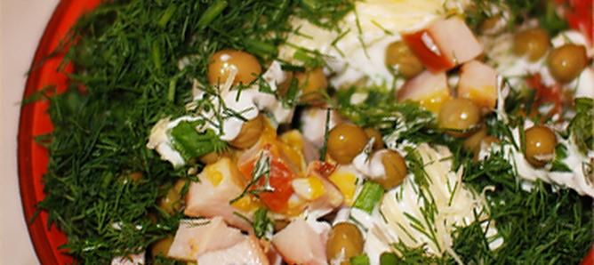 Сытный салат с копченой курятиной рецепт