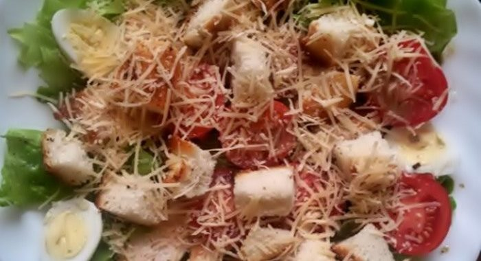 "Пошаговый фото рецепт салата ""Цезарь"" с курицей"