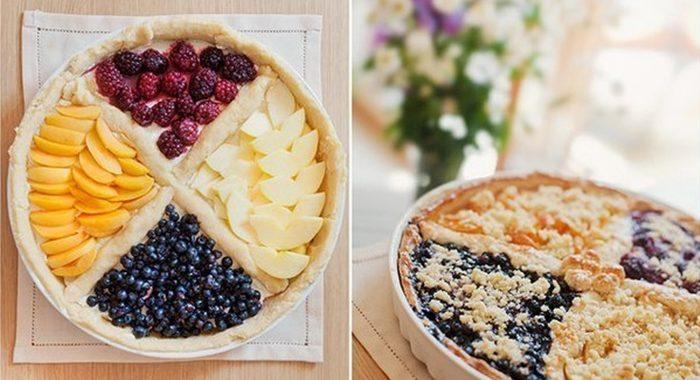 Четырехцветный фруктовый пирог рецепт приготовления