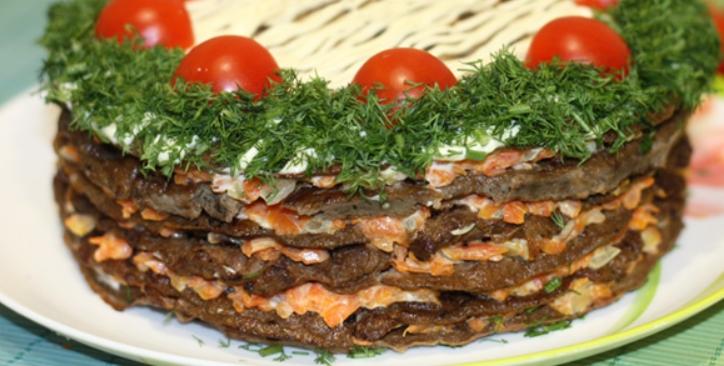 Печеночный торт с морковью и луком – пошаговый рецепт с фото